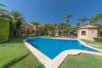Large detached luxury villa standing on a triple plot with wonderful views to the sea and the Marbella coastline Hacienda Las Chapas , Marbella