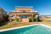 New built spacious quality villa with panoramic spectacular views to the coast and the Mediterranean Los Flamingos Golf, Estepona