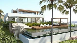 New beautifully conceived architect designed contemporary style detached villa situated on the Los Flamingos Golf Course, Estepona