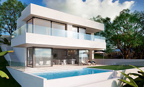 New contemporary style villa is being built on an elevated plot which enjoys commanding views of the Mediterranean sea, Estepona
